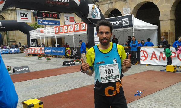 Cansado pero contento a la llegada de la maratón Zegama-Aizkorri.