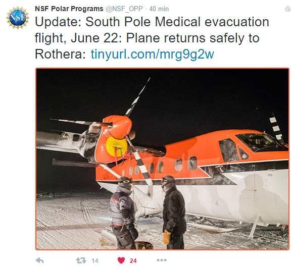 Twitter de la NSF confirmando la llegada del Twin Otter a Rothera.